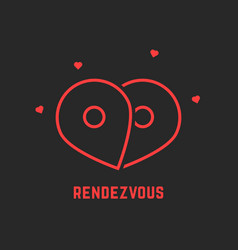 red rendezvous icon with pin vector image vector image