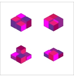 set of geometric cube Fashion graphic design vector image vector image