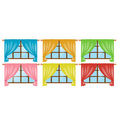 windows with different color curtains vector image