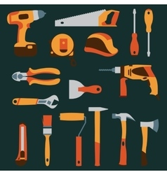 color collection icons of builder equipment vector image vector image