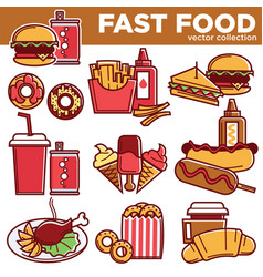 fast food menu meals burgers sandwiches desserts vector image vector image