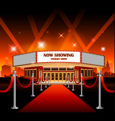 hollywood movie red carpet movie theater vector image vector image