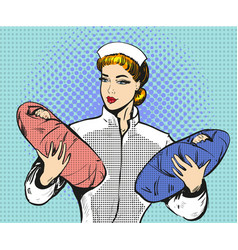 pop art of maternity nurse vector image vector image