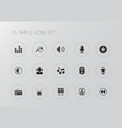 set of 15 editable sound icons includes symbols vector image vector image