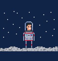 astronaut pixel game style cosmonaut vector image vector image