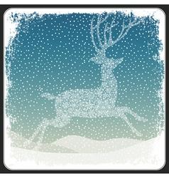 Christmas deer background vintage vector image