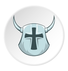 Combat helmet with cross and horns icon vector image vector image