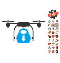 drone drop cargo icon with love bonus vector image vector image
