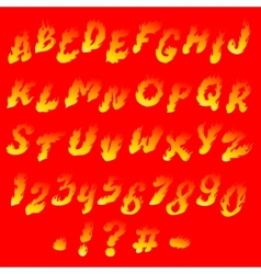 Fiery font vector image vector image