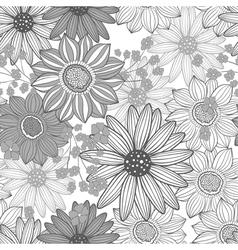 monochrome floral pattern vector image