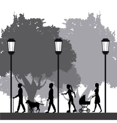 people silhouette walk lifestyle park lamppost vector image
