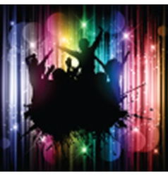 Silhouette of a grunge party crowd on an abstract vector image vector image