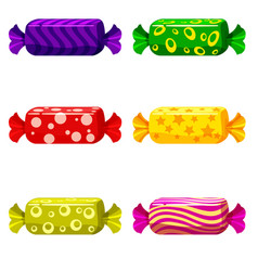 a set of sweet candies in a package of different vector image