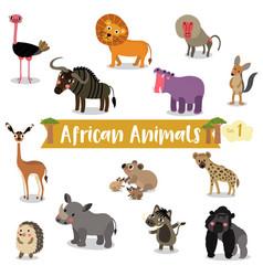 African animal cartoon set 1 on white background vector