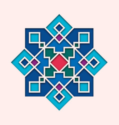 Arabesque arabic tile orient colorful stained vector