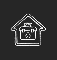 at home blood test chalk white icon on black vector image