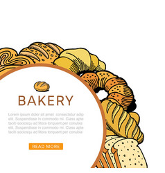 bakery bread and pastries poster sketch icons of vector image