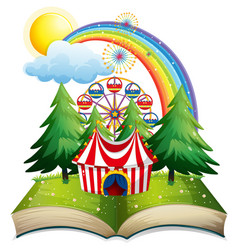 Book with circus tent in the park vector