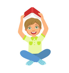Boy reading a book holding it above the head part vector