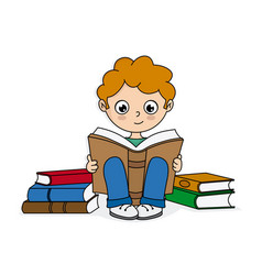 Boy reading surrounded by books vector