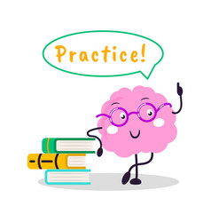 Brain training fun character cartoon flat vector