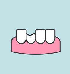 broken or chipped tooth dental related icon vector image