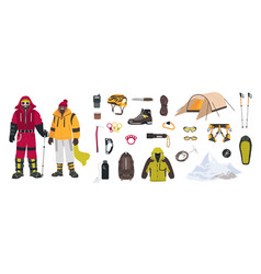 Bundle mountaineering and touristic equipment vector
