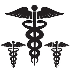 Caduceus medical signs set vector