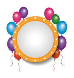 Card decoration empty frame balloons party vector