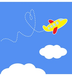 Cartoon plane Dash heart in the sky Love card vector image
