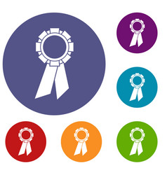 Champion medal icons set vector