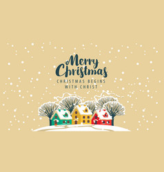 Christmas envelope with snowy houses and trees vector