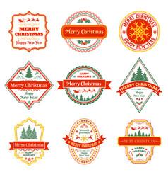 christmas labels vintage xmas winter holiday vector image