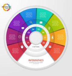 Circle infographic template 8 options vector