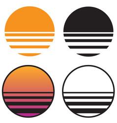 classic retro sun sunset vector image