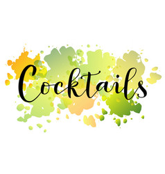 cocktails in black on colorful watercolor backgrou vector image