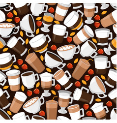 coffee cup seamless pattern wrapping paper vector image