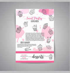 cupcake background with handdrawn cupcakes vector image