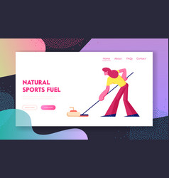 Curling competition website landing page vector