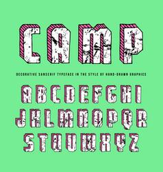 Decorative rectangular sanserif bulk font vector