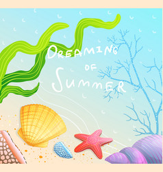 Dreaming summer poster design with sandy beach vector