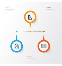 Education icons set collection measurement vector