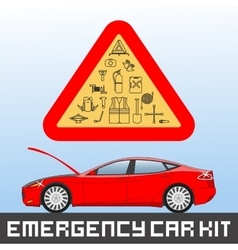 Emergency road kit items set Car service and vector