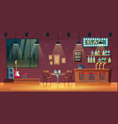 empty snack bar pub interior cartoon vector image