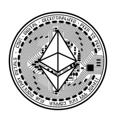 Ethereum coin black silhouette vector
