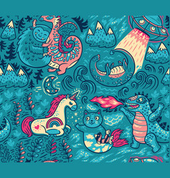 fantastic creatures animal pattern cute vector image