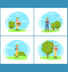farmer with harvesting basket vector image