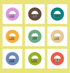 flat icons set of column chart and umbrella vector image