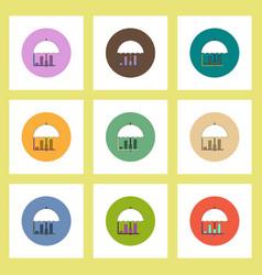 Flat icons set of column chart and umbrella vector