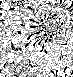 Floral seamless pattern in zen-tagle style vector image